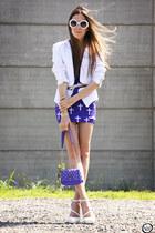 deep purple cross Labellamafia skirt - deep purple spiked Labellamafia bag