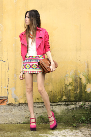 hot pink Ville Rose jacket - yellow Ville Rose skirt