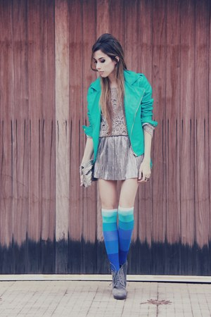 silver SLASHSTORE skirt - aquamarine DA-SEIN SOCKS socks