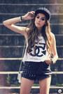 Black-spiked-romwe-hat-black-romwe-shorts-white-timeless-t-shirt