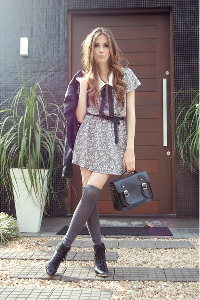 black Ellus boots - heather gray miss patina dress - black diva couture jacket