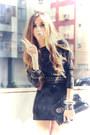Black-marg-dress-silver-spike-romwe-bracelet