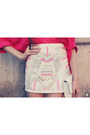 Hot-pink-ville-rose-shirt-white-ville-rose-skirt