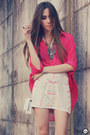Hot-pink-ville-rose-shirt-white-ville-rose-skirt