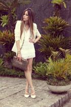 white fringe romwe blazer - ivory sequins Labellamafia dress