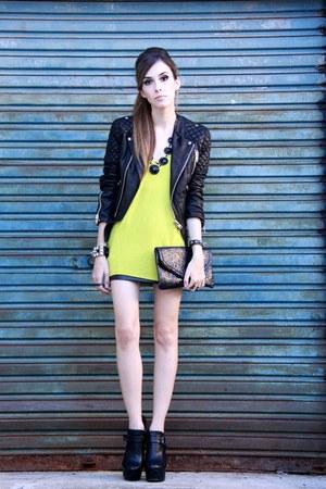 black MINUSEY jacket - yellow Brech da Neide sweater