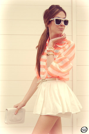 white Clothing Loves skirt - orange romwe shirt - neutral Kafé bracelet