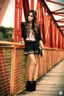 Black-labellamafia-skirt-heather-gray-romwe-t-shirt-black-kafé-bracelet
