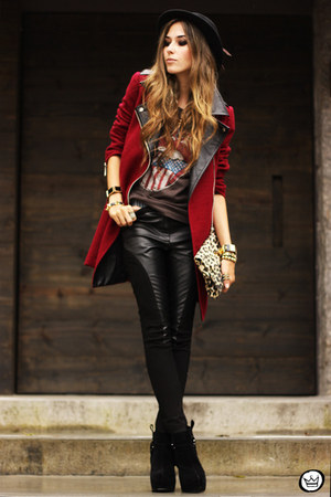 brick red Sheinside coat - black romwe pants