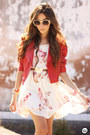 Ruby-red-modaki-jacket-white-amelie-allure-dress