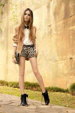 black leopard print Espao 1098 shorts - black Ellus boots
