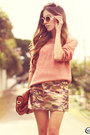 Salmon-awwdore-jumper-light-brown-choies-skirt-kafé-bracelet