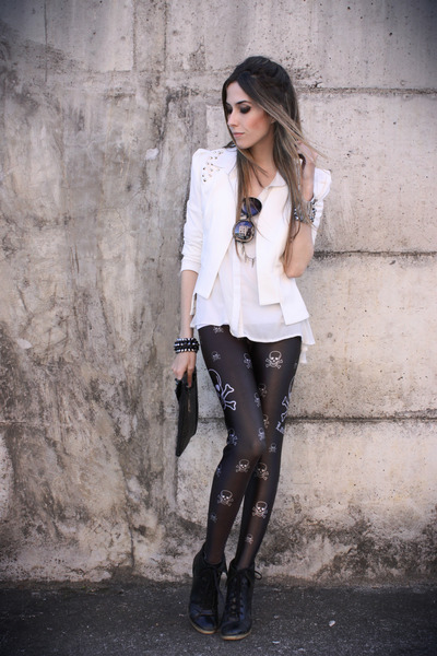 black Labellamafia leggings - white romwe blazer