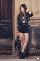 black asos shoes - black Morena Raiz shorts - black dog Choies t-shirt
