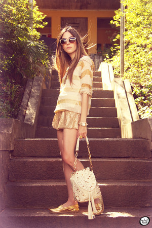 gold Kafé flats - beige Choies jumper - light yellow GoodNight Macaroon skirt