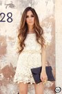 Ivory-lace-romwe-dress-gold-maria-cereja-bracelet
