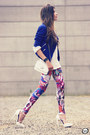 Blue-rivets-romwe-jacket-white-labellamafia-leggings