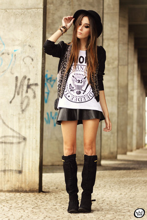 black Aremo jacket - black Aremo skirt - white Aremo t-shirt