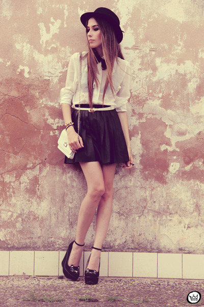 black GoodNight Macaroon skirt - white awwdore shirt - black Choies wedges