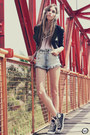 Black-boda-skins-jacket-sky-blue-studded-labellamafia-shorts