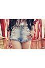 Black-boda-skins-jacket-sky-blue-studded-labellamafia-shorts