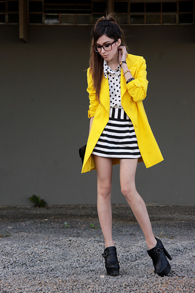 yellow romwe coat - white Espao 1098 shirt - black Espao 1098 skirt