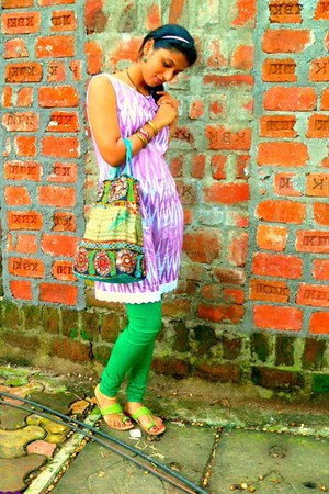green MIRAAYA tights - green AHMEDABAD bag - chartreuse streets flats