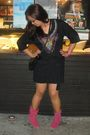 Black-miley-cyrus-and-max-azria-dress-pink-boots-pink-bracelet-black-nine-