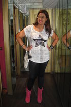 white bought in Singapore shirt - black Topshop leggings - pink Linea Italia boo