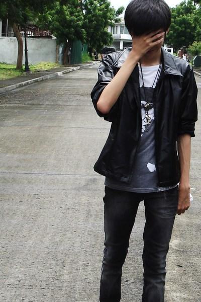 black jacket - white Topman shirt - black Topman jeans