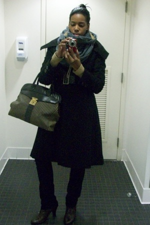 sean john coat - American Apparel scarf - purse - Nine West shoes - Isaac Mizrah