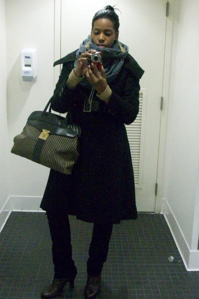 sean john coat - American Apparel scarf - purse - Nine West shoes - Isaac Mizrah