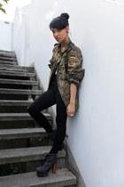 olive green Bundeswehr Army blazer - black Jeffrey Campbell boots