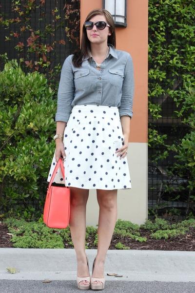 navy polka dots JCrew skirt - light blue chambray Esprit shirt