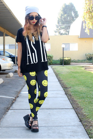 thrifted shoes - dollar store hat - Love Culture leggings - Target t-shirt
