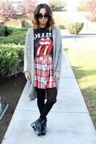 rolling stone Walmart t-shirt - plaid lovejunkee skirt - Forever 21 cardigan