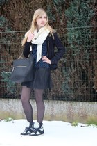 black asos skirt - black bomber H&M jacket - off white Zara scarf