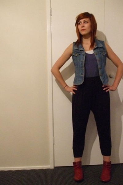 Secondhand vest - cotton on top - Living Doll pants - Big W boots