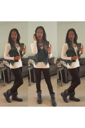 studded Make Me Chic vest - Bakers boots - DOTS leggings - Old Navy shirt