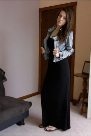 black maxi dress - blue acid wash denim jacket