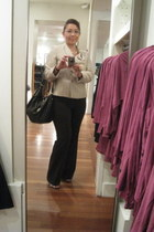 ring - beige tweed Kasper blazer - brown Gucci purse - coach watch - brown pants