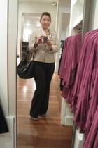 ring - beige tweed Kasper blazer - brown Gucci purse - coach watch - brown pants