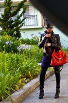balmain inspired jacket - H&M dress - meile bianco purse - American Apparel legg