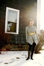 Gray-obey-cardigan-gold-vintage-belt-black-american-apparel-leggings