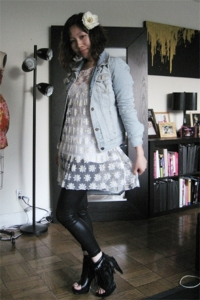 vintage dress - thrifted jacket - American Aparel leggings - f21 boots - DIY acc