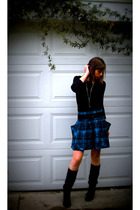 Forever 21 shirt - Urban Outfitters skirt - Forever 21 boots - Vintique necklace