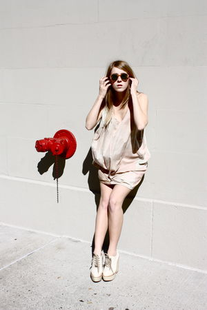 acne dress - Chloe boots - vintage sunglasses