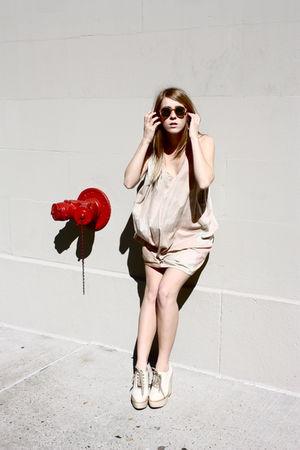 acne dress - Chloe boots - vintage sunglasses