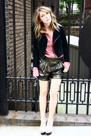 Diane Von Furstenberg shorts - Topshop shoes - Topshop shirt - Monki jacket
