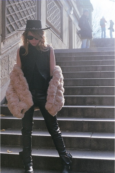 vintage fur coat - Dolce Vita boots - Stetson hat - Alexander Wang vest